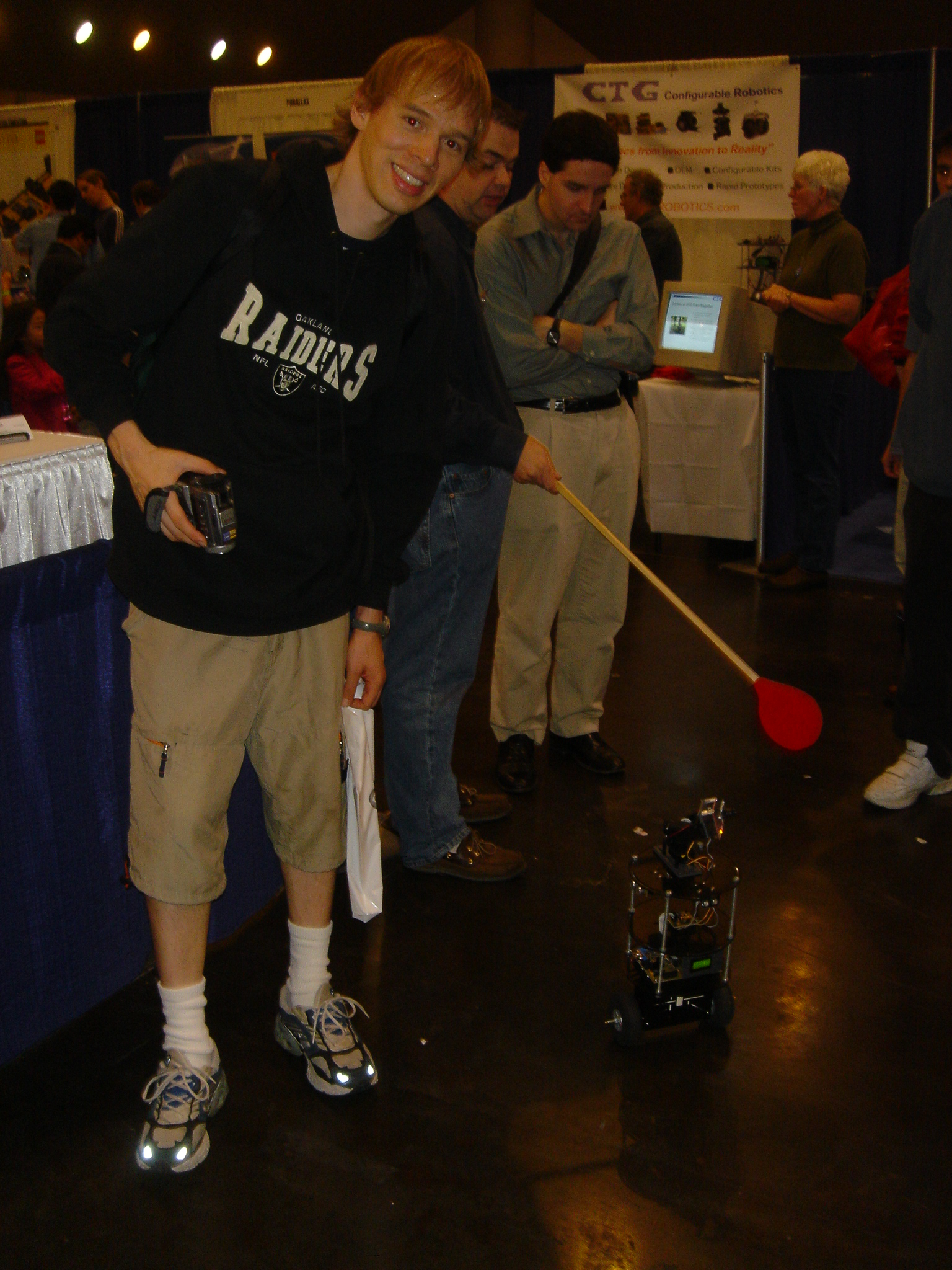 Trent with a small mobile robot